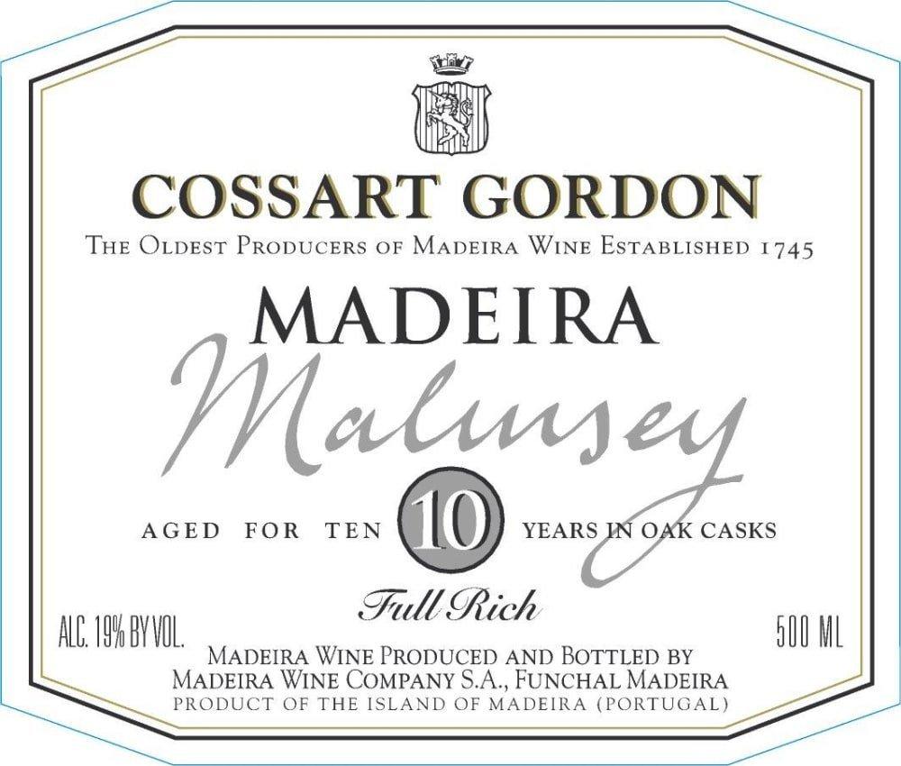 Cossart Gordon 10 Year Malmsey Maderia (500 ML bottle) - Madeira Dessert Wine